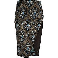 Blue tapestry jacquard wrap pencil skirt