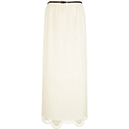 Cream lace scallop hem maxi skirt