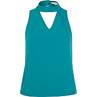 Teal panelled high neck shell top