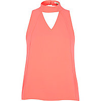 Fluro pink panelled high neck shell top
