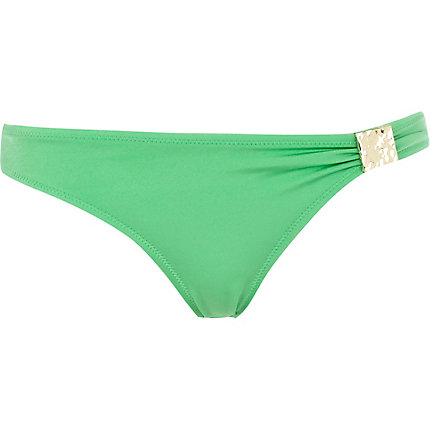 Green metal plate bikini bottoms