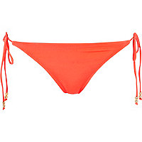 Fluro orange tie side bikini bottoms