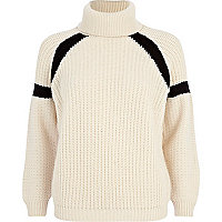 Cream contrast stripe roll neck jumper