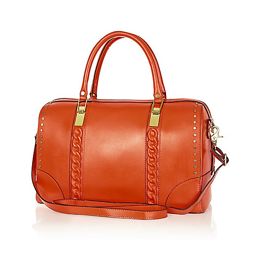 Orange leather embossed chain bowler bag