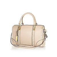 Cream leather chain embossed bowler bag