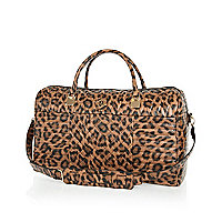 Brown leopard print quilted weekend bag