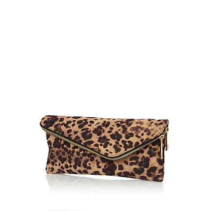 Brown leopard print asymmetric clutch bag
