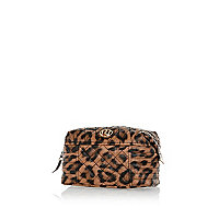 Brown leopard print quilted panel make up bag