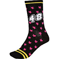 Black star print varsity ankle socks