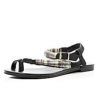 Black mixed metal bracelet sandals