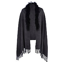Dark grey Mongolian fur trim cape