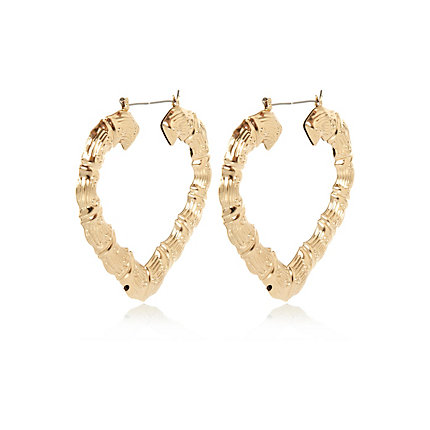 Gold tone creole heart hoop earrings