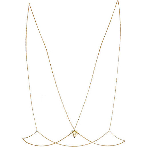 Gold tone filigree heart body chain
