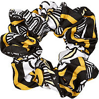 Black and yellow printed scrunchie