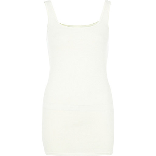Cream scoop neck longline vest