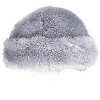 Blue faux fur beanie hat
