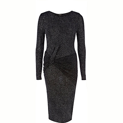 Silver lurex knot front midi dress