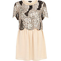 Light pink embellished 2 in 1 mini dress