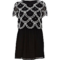 Black embellished 2 in 1 mini dress