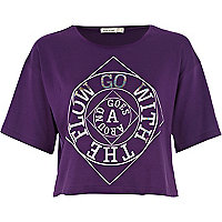 Purple go with the flow cropped t-shirt