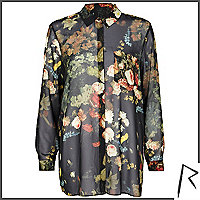 Black Rihanna floral pleat back shirt