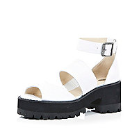 White chunky strap block heel sandals