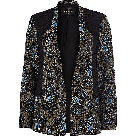 Blue tapestry jacquard contrast panel blazer
