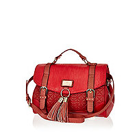 Red quilted tassel satchel