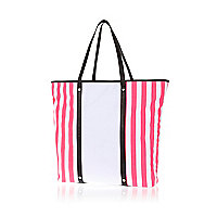 White candy stripe tote bag