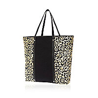 Black leopard print panel tote bag