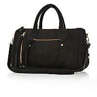 Black suede snake embossed bowler bag