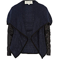 Navy boucle waterfall jacket