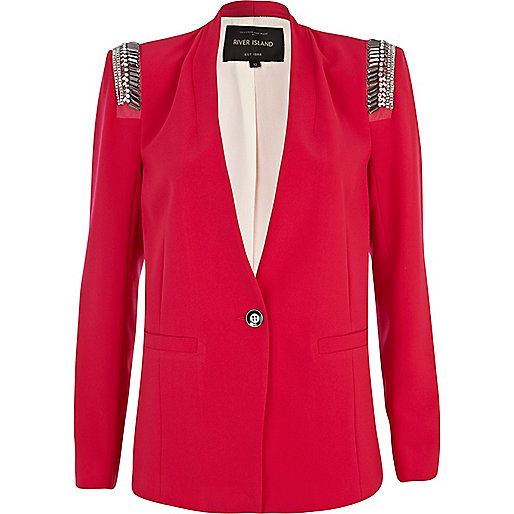 Bright pink embellished shoulder blazer