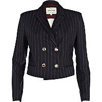 Navy pinstripe cropped blazer