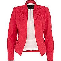 Pink jacquard unfastened blazer