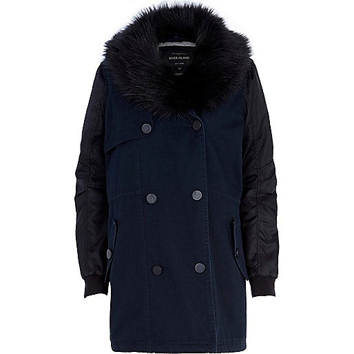 Navy faux fur collar parka trench coat