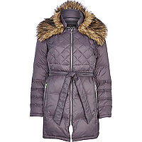 Grey down feather padded jacket