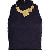Navy shirred high neck crop top