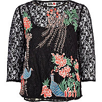 Black Chelsea Girl embroidered lace top