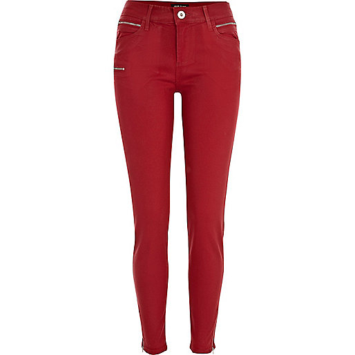 Red coated Ellys superskinny jeans