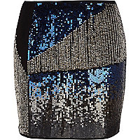 Blue sequin embellished mini skirt
