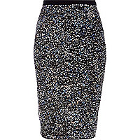 Black sequin embellished pencil skirt