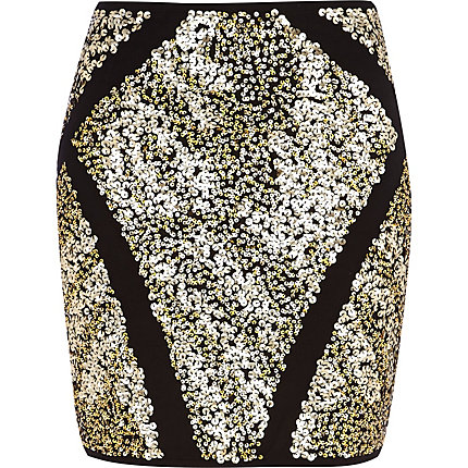 Black geometric sequin mini skirt