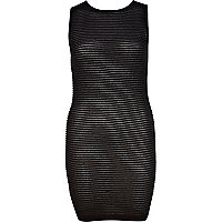 Black ripple textured bodycon dress
