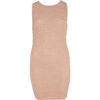 Light pink ripple textured bodycon dress