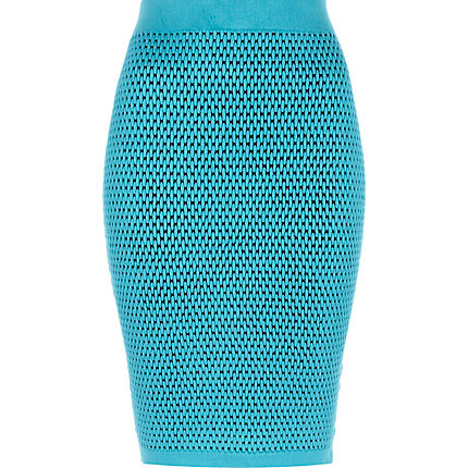 Blue textured knitted tube skirt