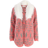 Pink faux fur collar cardigan
