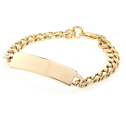 Gold tone curb chain bracelet