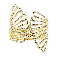 Gold tone Textured Angel Wing cuff
