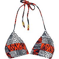 Blue and red tribal print bikini top